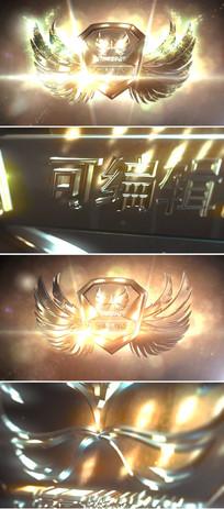 震撼三维金属钢铁质感翅膀logo标志展示ae模板