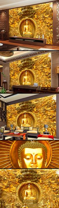释迦摩尼如来玄关佛像背景墙