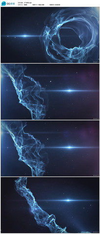 大气蓝色光线丝带led舞台背景视频