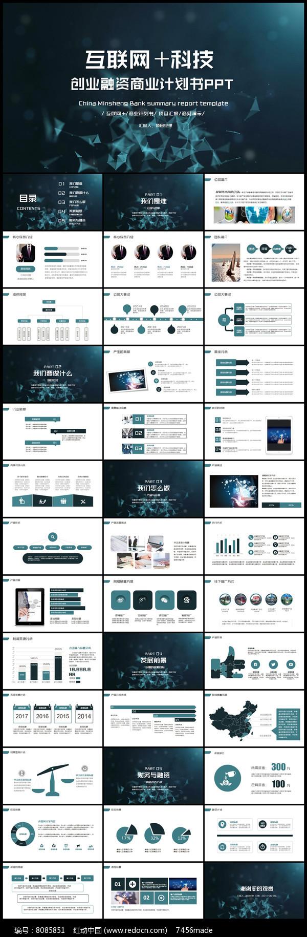 互联网+科技商业计划书创业计划PPT图片