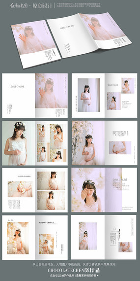 日式孕照清新相册模板 PSD