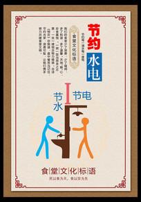 食堂文化节约水电展板