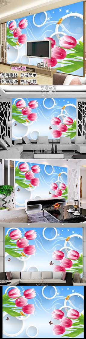 3D立体圆圈郁金香百合花客厅电视背景墙图片