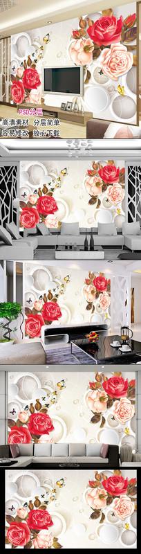 3d立体玫瑰花客厅电视背景墙图片