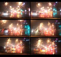车窗里拍摄夜晚灯光视频
