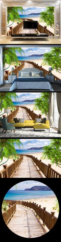 大气海边风景走廊背景墙