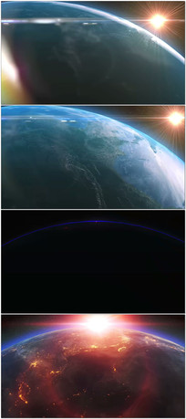 地球边缘太阳升起视频