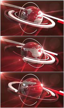 红色地球旋转新闻演播室背景视频