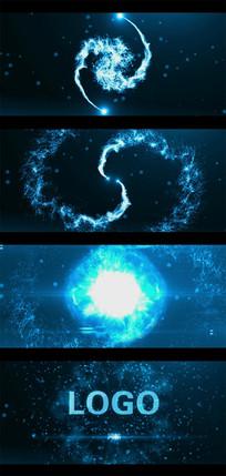 炫酷的粒子光束碰撞爆炸出logo标志的AE模板