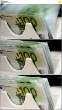 欧元点钞机实拍视频素材