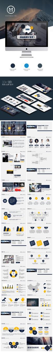 微粒体商务商业创业计划书营销策划书PPT模版
