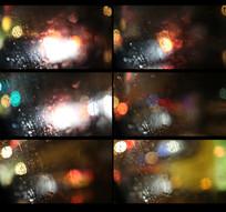 午夜车窗外下雨镜头视频