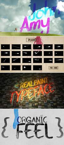 油漆水墨字母数字排版设计视频包ae模板