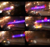 雨天车窗外面的灯光视频
