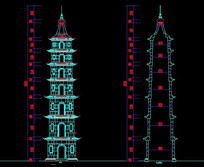 CAD七层石塔施工图