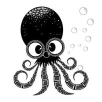 创意章鱼吐泡泡图案设计素材
