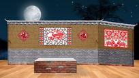 复古古代土墙瓦房砖房小品舞台大屏幕LED背景 PSD