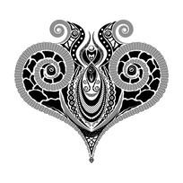 个性黑白色花型设计素材