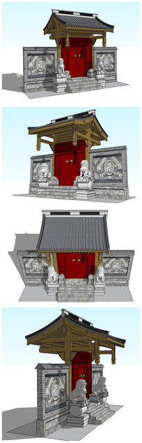 古典中式大门垂花门