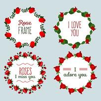 花环玫瑰花包装矢量素材