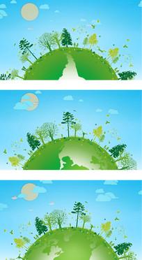 环保主题地球旋转植被覆盖卡通背景