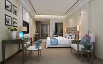 酒店房间单人房3dmax效果图(附贴图)