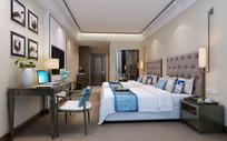 酒店房间双人房3dmax效果图(附贴图)