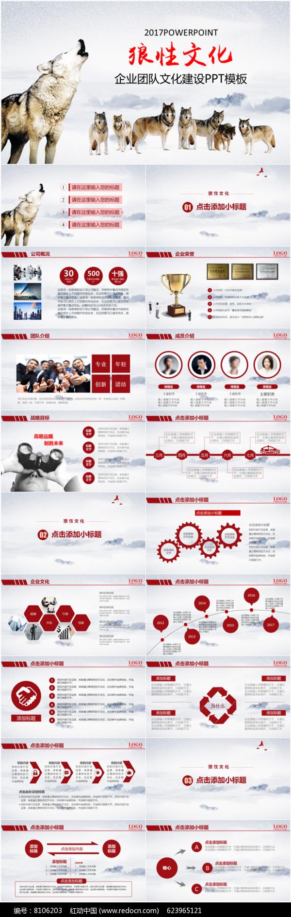 狼性文化企业团队文化建设PPT模板图片