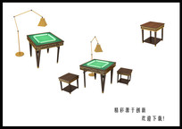 麻将桌茶几组合3D模型