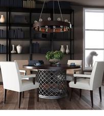 美式风格餐桌椅组合3DMAX模型