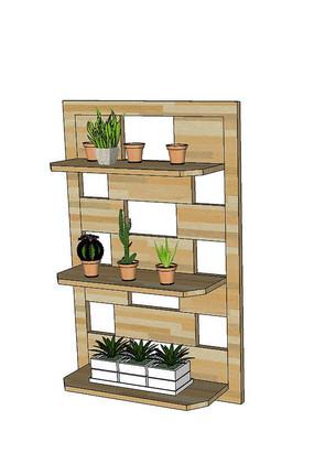 室内盆栽架SU模型
