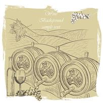 手绘葡萄酒包装盒素材