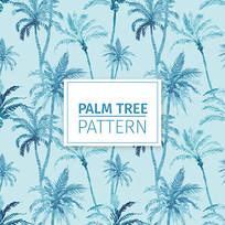 水彩棕榈树墙纸图案 AI