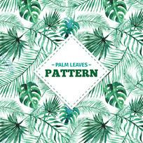 水彩棕榈叶包装图案 AI