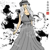 水墨背景女性人物插画