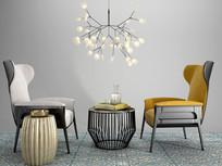 现代沙发椅茶几组合3DMAX模型+效果图