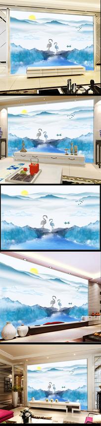 新中式抽象水墨山水背景墙卧室装饰壁画 PSD