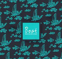 鱼和船背景图案