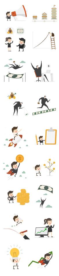 扁平卡通商务金融互联网人物图表图形模版