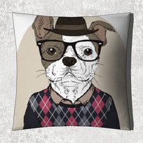 博士狗图案抱枕