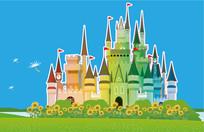 彩色适量迪士尼城堡