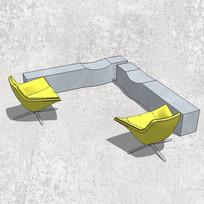 """创意""""L""""型桌椅"""