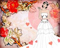 穿婚纱的女孩插画