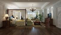 东南亚风格宽敞卧室效果图