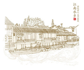 古代建筑风景插画设计