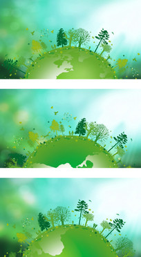 环保主题地球旋转植被覆盖晴空卡通背景