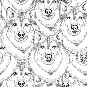 狼头印花图案