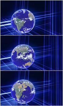 蓝色科技地球演播室动态背景视频