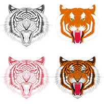 老虎头像插画