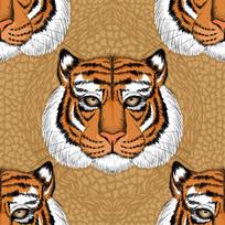 老虎头像印花底纹